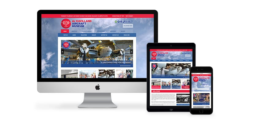 A Brilliant Website Design for de Havilland Museum in Hertfordshire by Webster Internet
