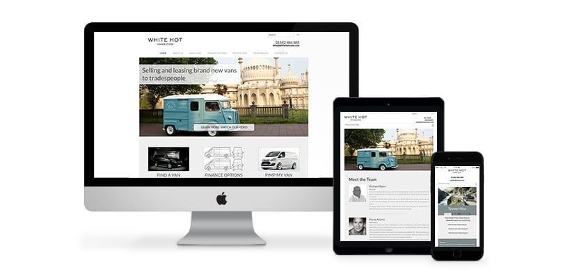 A Brilliant Website Design for a vehicle supplier in Luton Bedfordshire by Webster Internet