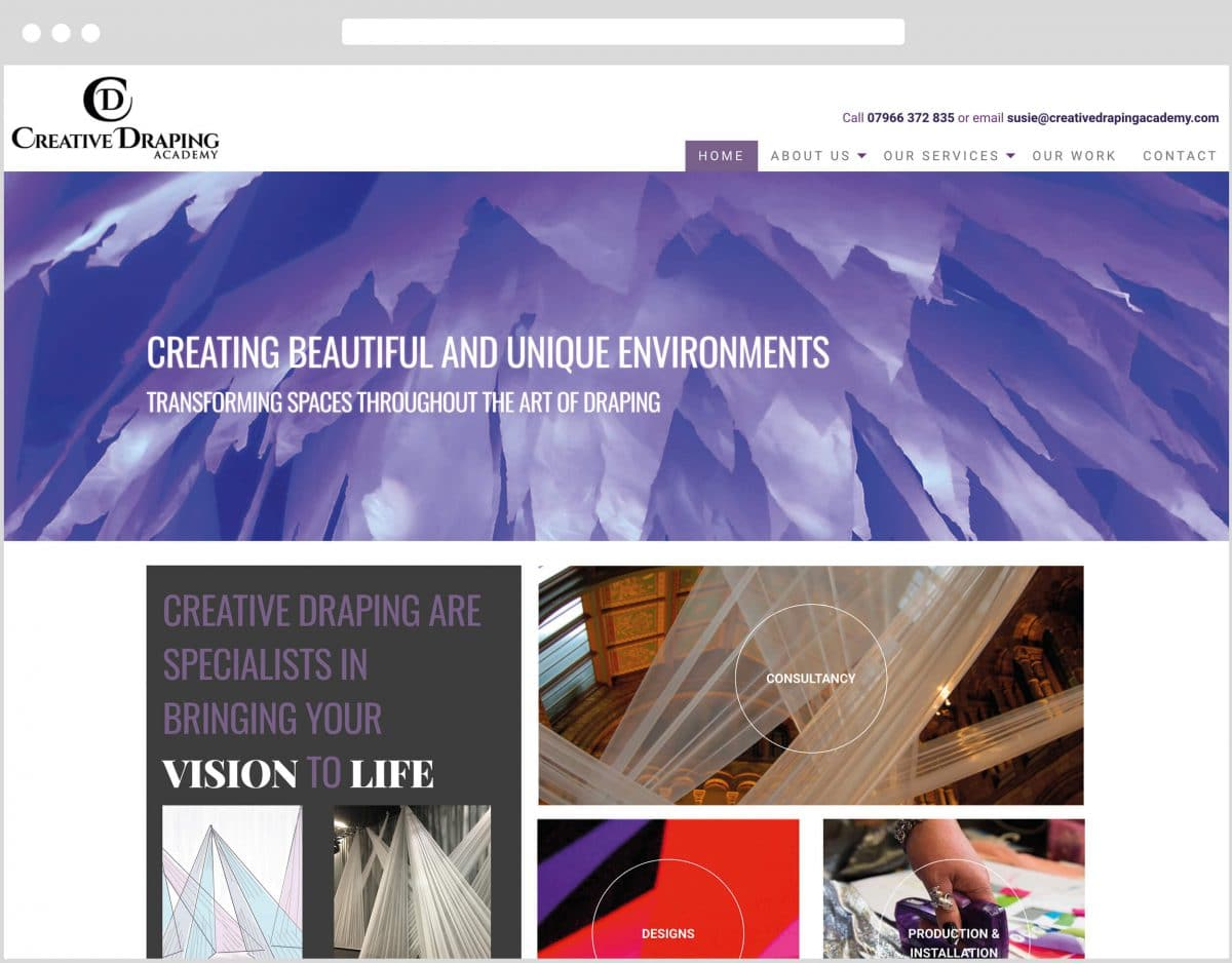 Web Design Bedfordshire - Creative Draping Academy Website Build
