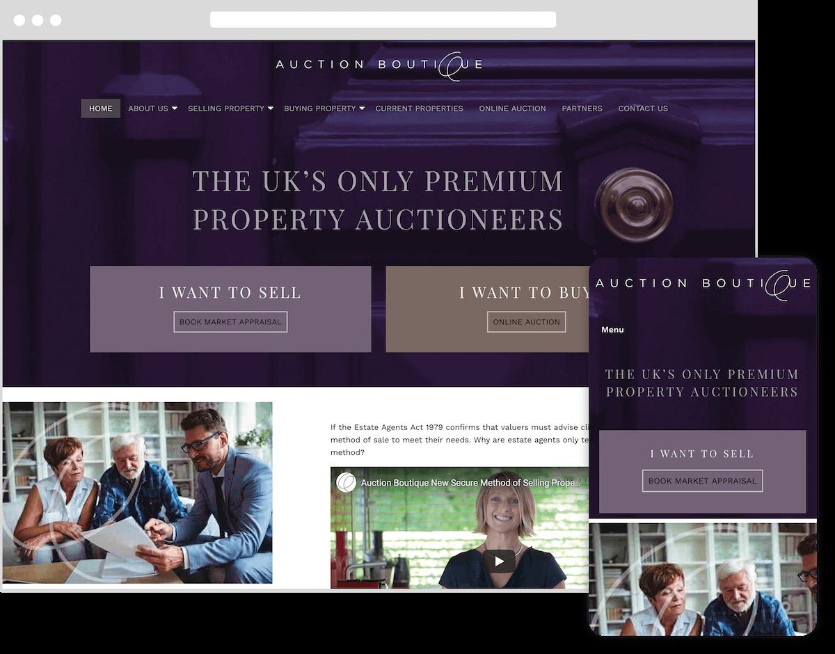 auction boutique website by webster digital - web design bedfordshire