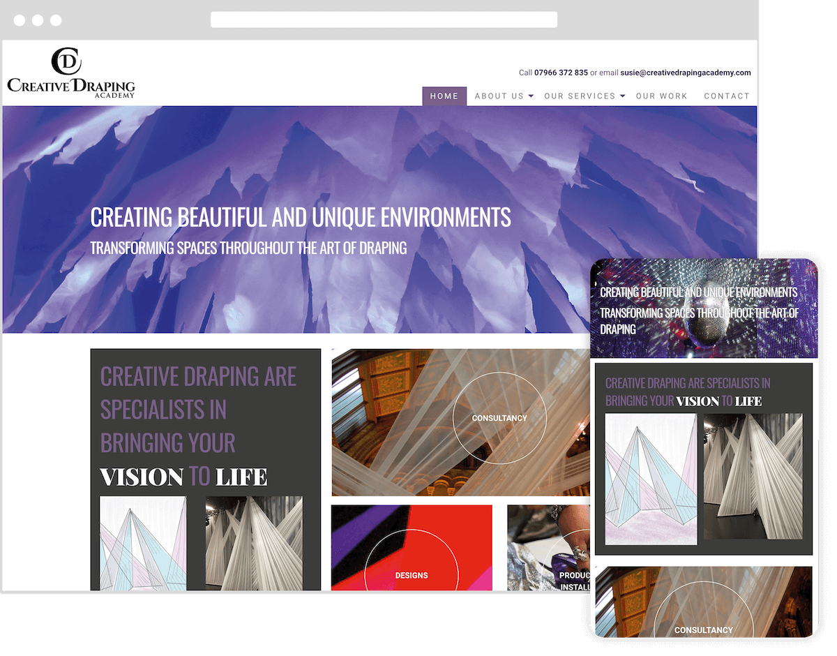creative draping academy website by webster digital - web design bedfordshire