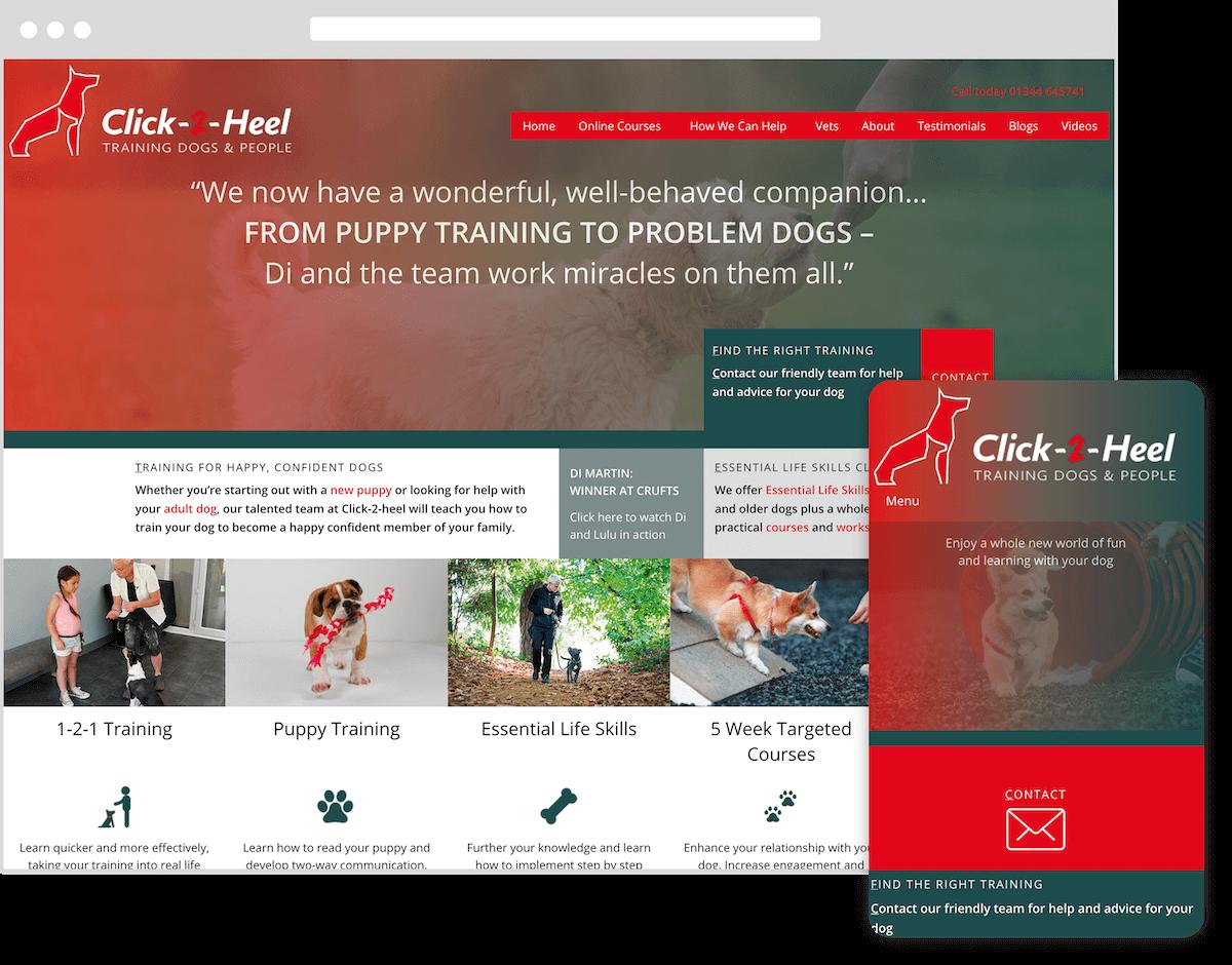 click-2-heel website by webster digital - web design bedfordshire