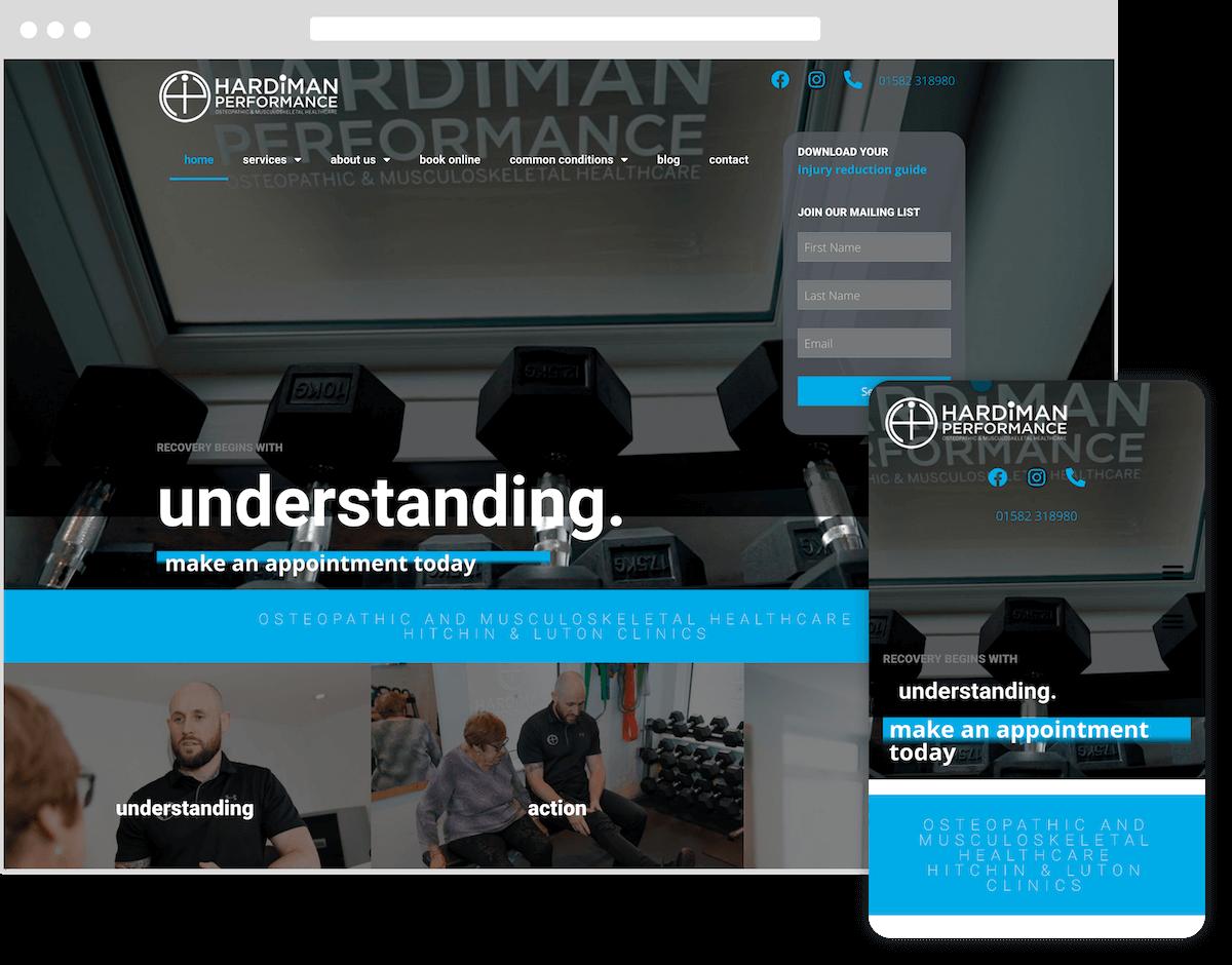 hardiman performance website by webster digital - web design bedfordshire