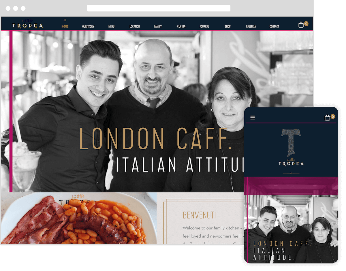cafe tropea website by webster digital - web design bedfordshire